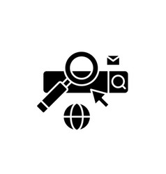 searching black icon sign on isolated vector image