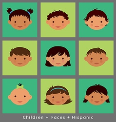 Set cute faces Hispanic children flat style vector