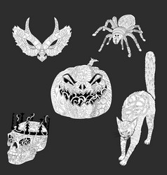 set of anti stress coloring pages for halloween vector image