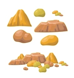 Set of cartoon stones and minerals vector image