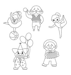 set of circus characters set of circus characters vector image
