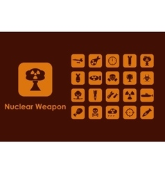 Set of nuclear weapon simple icons vector image