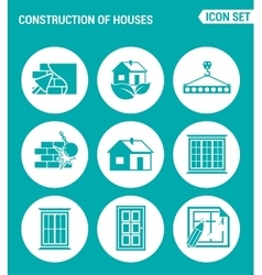 set of round icons white Construction of houses vector image