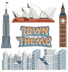Set of town building theme vector