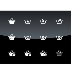Shopping Basket icons on black background vector image