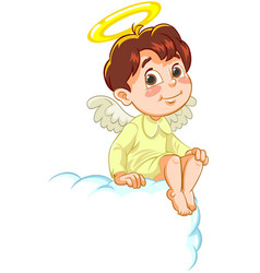 sitting little baby angel vector image