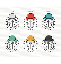 Six thinking hats concept design with human brains vector