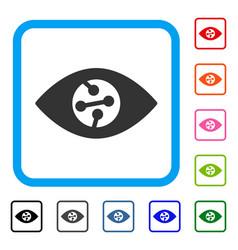 Smart contact lens framed icon vector