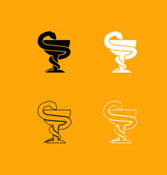 Snake and cup black and white set icon vector