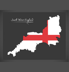south west england map with flag of england vector image