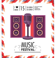 speakers and microphone to music festival vector image