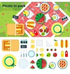 Summer Picnic in Park Banner and Icons vector image