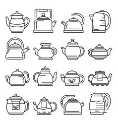 teapot icon set outline style vector image