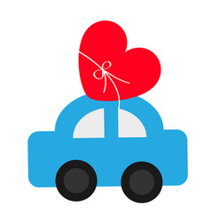 Toy car carrying red love heart shape icon with vector