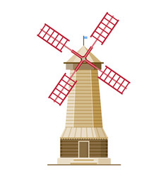 traditional wind mill isolated on white background vector image