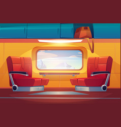Train inside interior empty railway commuter vector