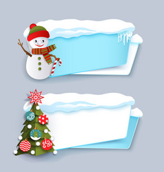 two winter banner with christmas tree snowman vector image
