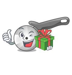 with gift pizza cutter cartoon in the kitchen vector image