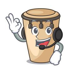 With headphone conga mascot cartoon style vector