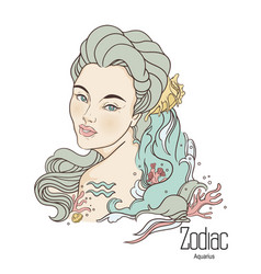 Zodiac of aquarius as girl with vector