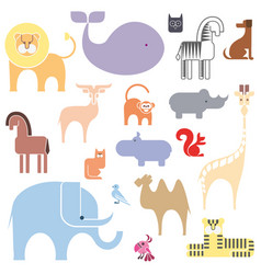 cute animal icon set isolated on a white vector image vector image