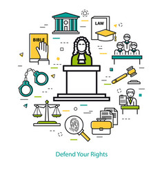 defend your rights - round concept vector image vector image