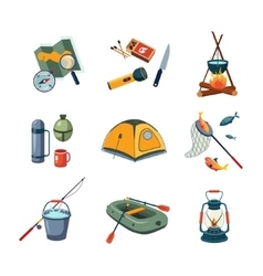 Fishing and Camping Equipment in Flat Design vector image vector image