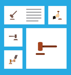 flat icon lawyer set of law legal defense and vector image