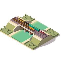 isometric train bridge vector image vector image