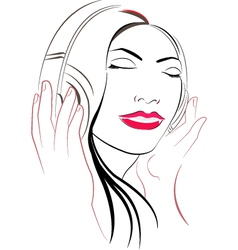 women listioning music vector image