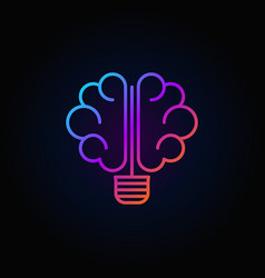 brain light bulb colorful icon vector image vector image