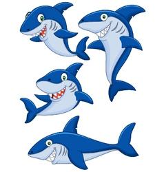 Cartoon shark collection set vector image vector image