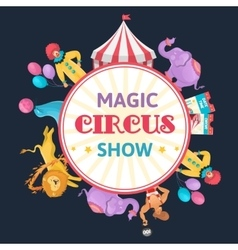 Magic Circus Round Composition vector image vector image