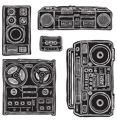 set of tape recorders vector image vector image