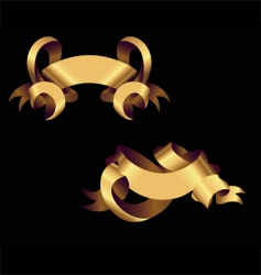 two golden ribbons vector image