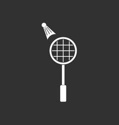 White icon on black background kids badminton vector