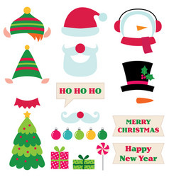 christmas photo booth props vector image