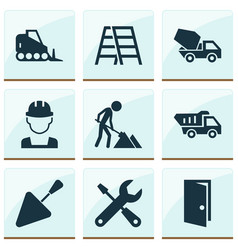 construction icons set collection of stair vector image vector image