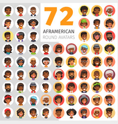 flat african american round avatars vector image