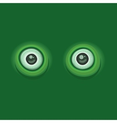 Green Background with Cartoon Eyes vector image