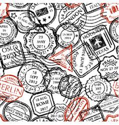 postal stamps pattern vector image vector image