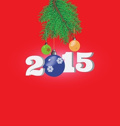 red Christmas background with fir branches vector image