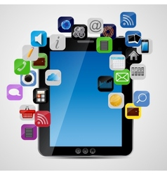 Universal design Tablet with app icons vector image vector image