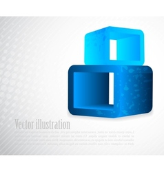 Background with 3d element in blue color vector image