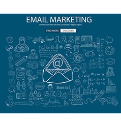 Email Marketing concept with Doodle design style vector image vector image