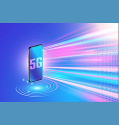 5g network technology on smartphone and high vector