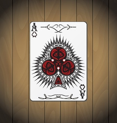 Ace of clubs poker card wood background vector
