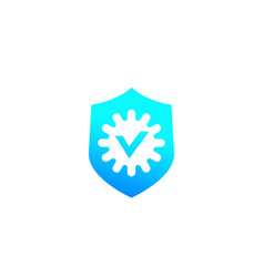 Antibacterial protection shield and bacteria icon vector