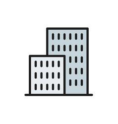 Apartment buildings real estate flat color line vector