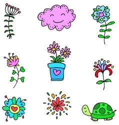 Art spring colordul item doodles vector